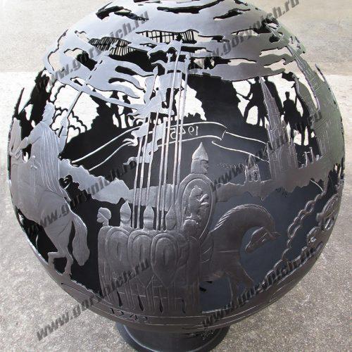 Эксклюзивный уличный очаг для костра в виде сферы с функцией мангала