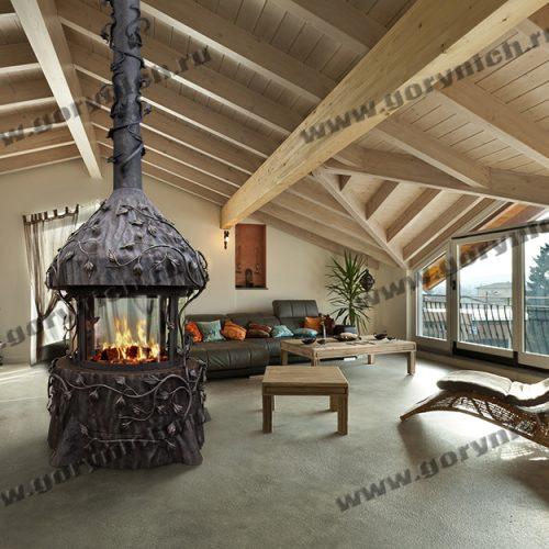 Центральный, островной камин для загородного дома, веранды, террасы