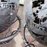 Уличный очаг для костра в виде сферы, уличный камин с функцией мангала