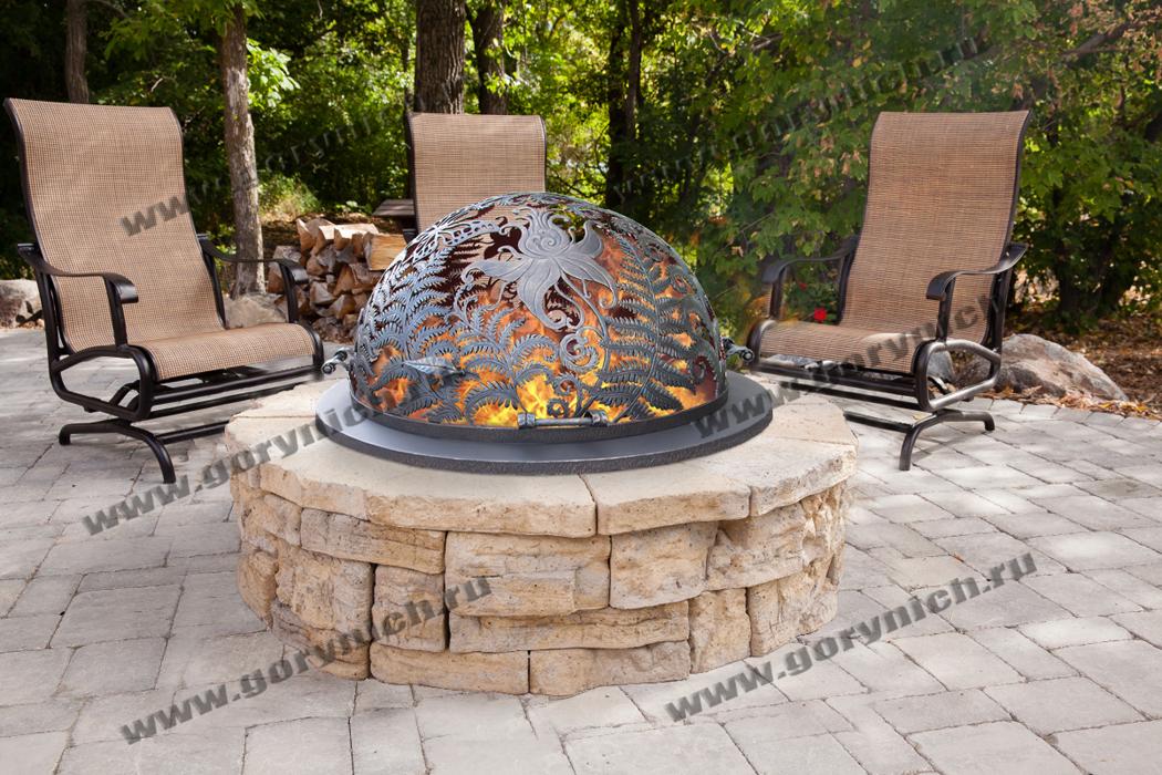 Облицовка уличного очага для костра из камня как вариант оформления костровища