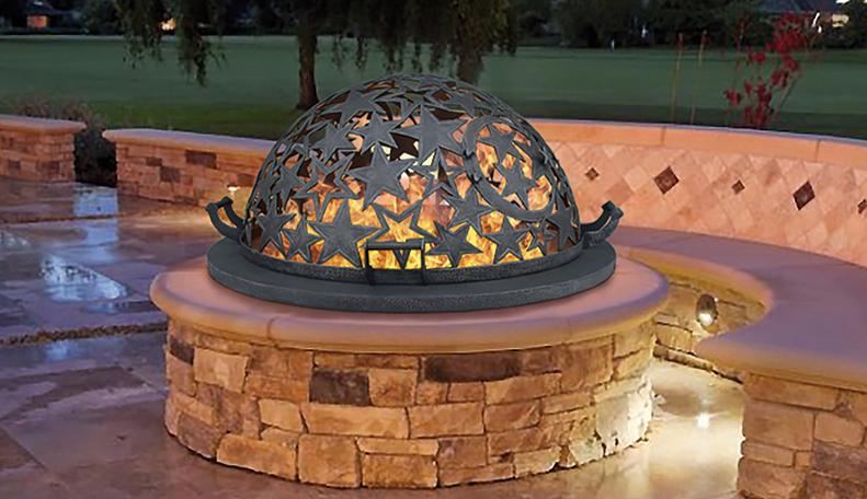Уличный очаг для костра - каменное костровище с крышкой в виде купола эксклюзивной ручной работы