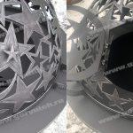 Уличный очаг для костра с крышкой в виде купола с с эксклюзивным рисунком. Ручная работа