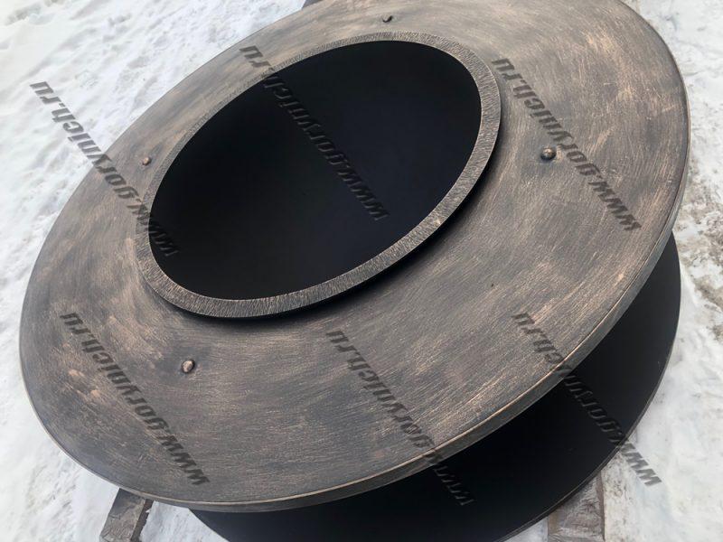 """Очаг для костра """"Кольца Сатурна - 2"""" с металлической столешницей и дровником"""