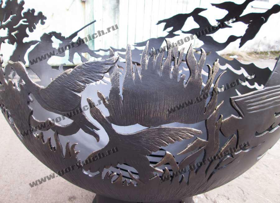 Чаша для костра ручной работы «Охота на уток»