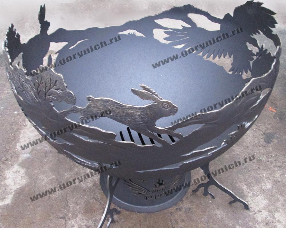Чаша для костра - уличный очаг «Охота орла на зайца»