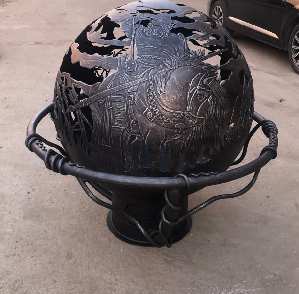 Сфера для костра с кованым обручем «Богатыри»