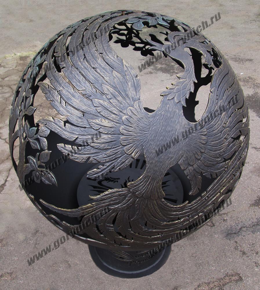Очаг для костра в виде сферы «Жар-птица в райском саду»