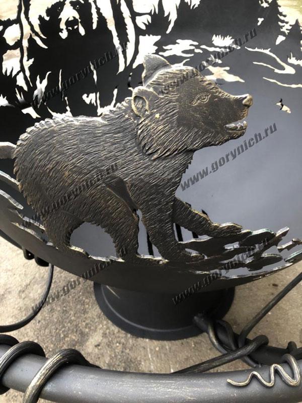 """Чаша для костра """"Медвежья рыбалка"""""""