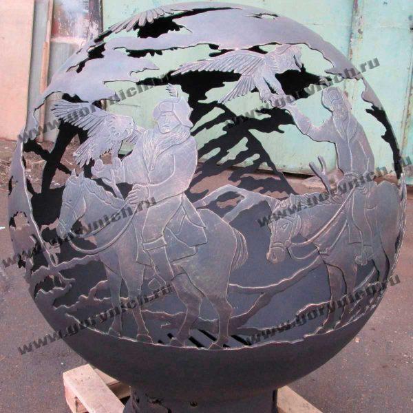 Уличный очаг - сфера для костра «Соколиная охота»