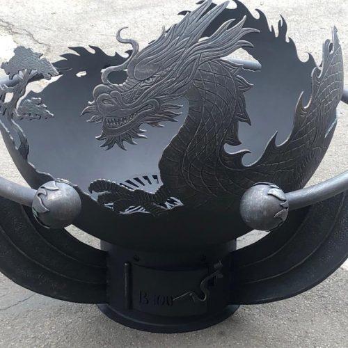 """Чаша для костра с кованым обручем """"Огненный дракон"""""""