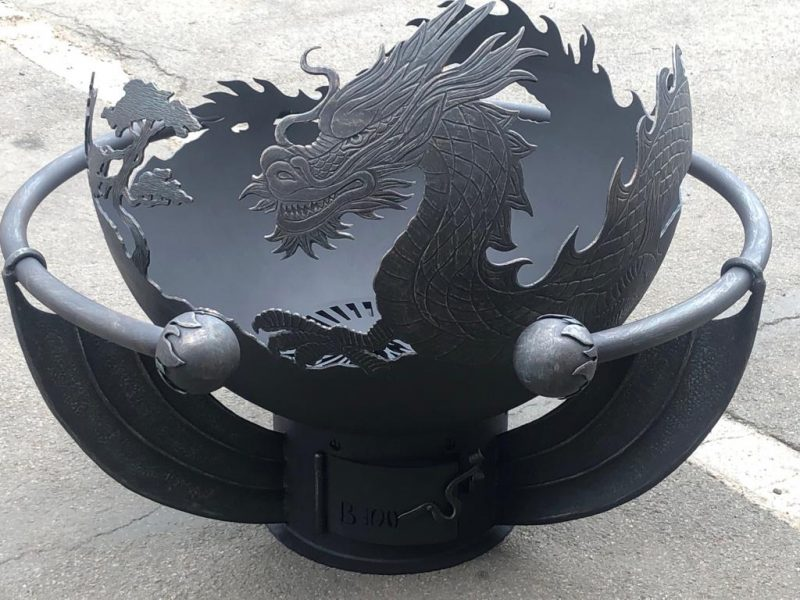"""Кованый обруч для костровой чаши """"Огненный дракон"""""""