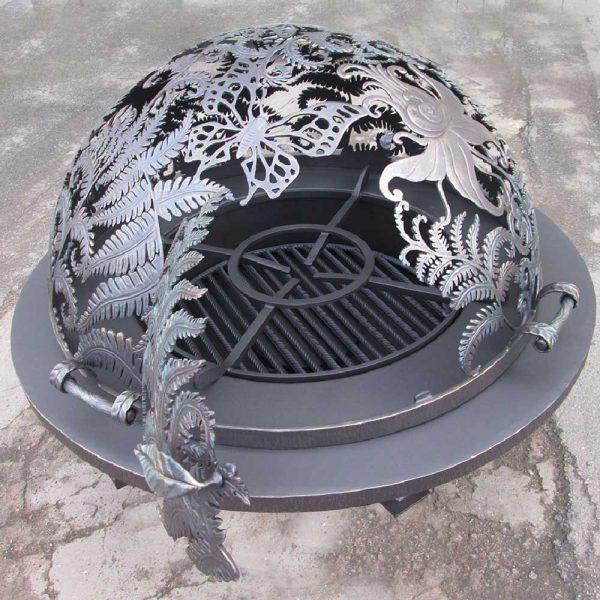 Резной купол для уличного очага «Огненный цветок папоротника»
