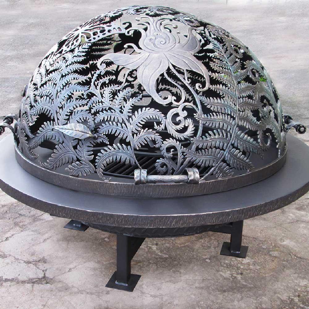 """Резной купол для уличного очага """"Огненный цветок папоротника"""""""