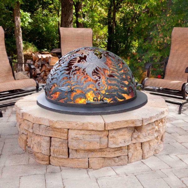 Резной купол для костровища с коваными ручками «Огненный цветок папоротника»
