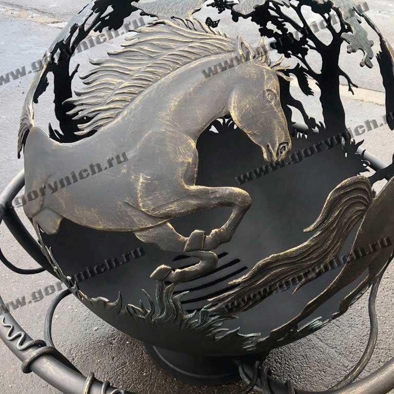 Уличный очаг для костра «Вольные кони»