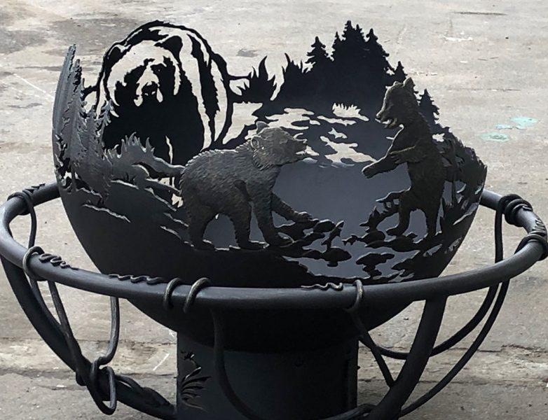 "Уличный очаг - чаша для костра ""Медвежья рыбалка"""