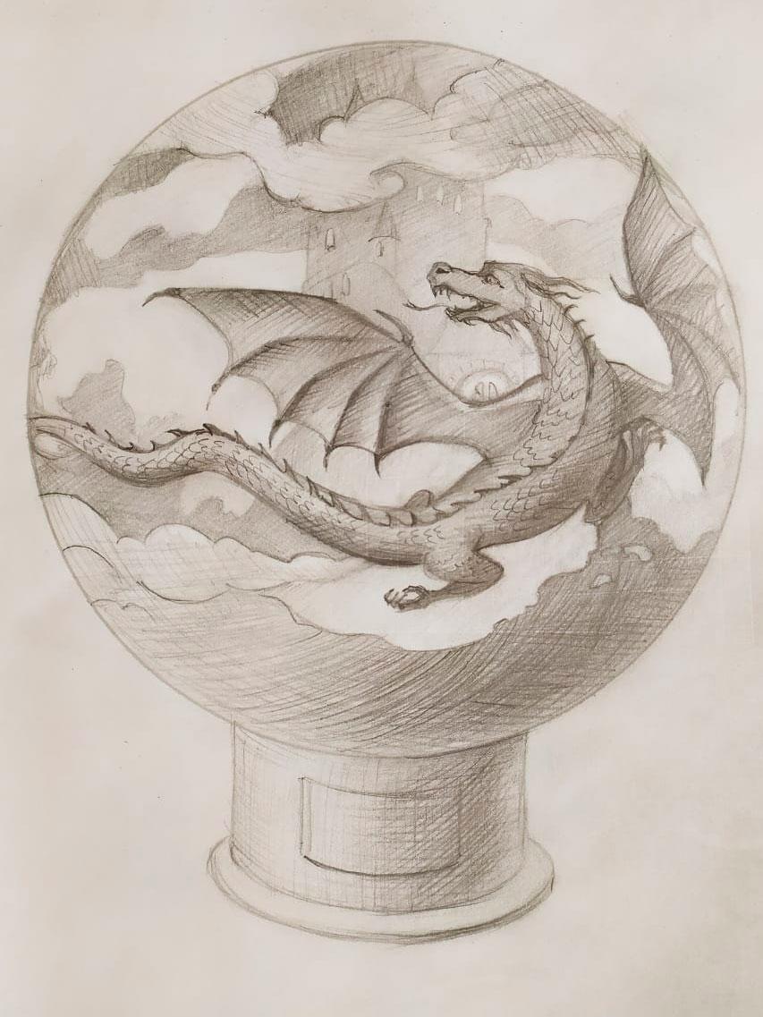 """Эскиз сферы для костра """"Замок Дракона"""""""