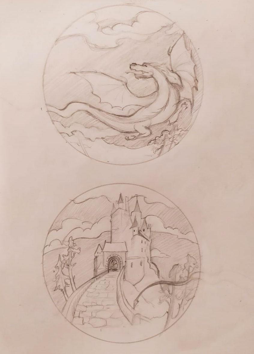 """Эскиз очага для костра """"Замок Дракона"""""""