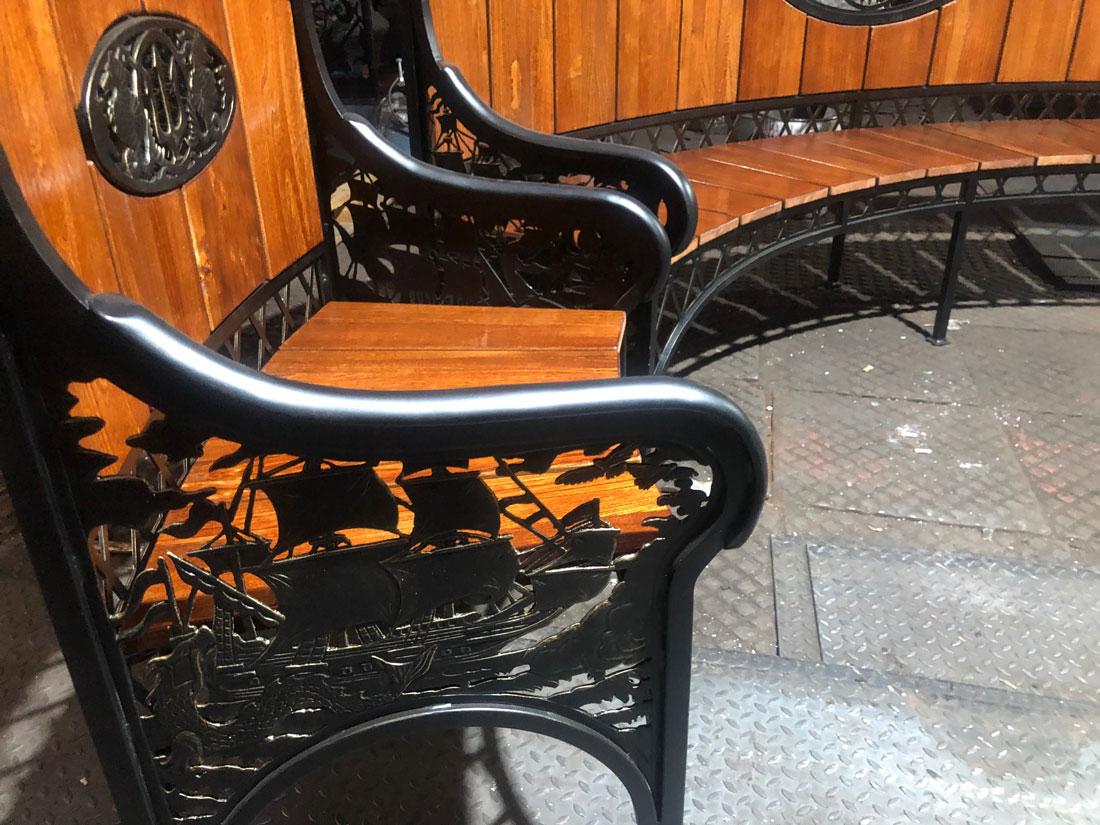 """Кованая скамейка и кресло """"Древняя карта мореплавателя"""""""