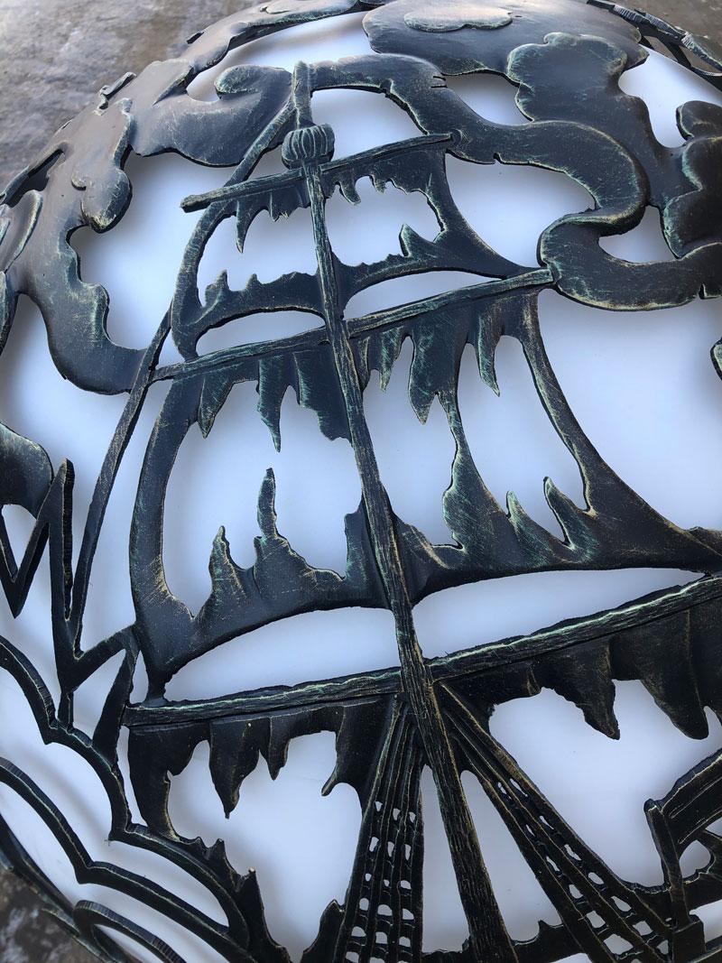 """Уличный светильник ручной работы """"Баталия фрегатов"""". Детали"""